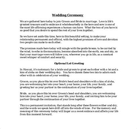 19  Wedding Ceremony Templates ? Free Sample, Example