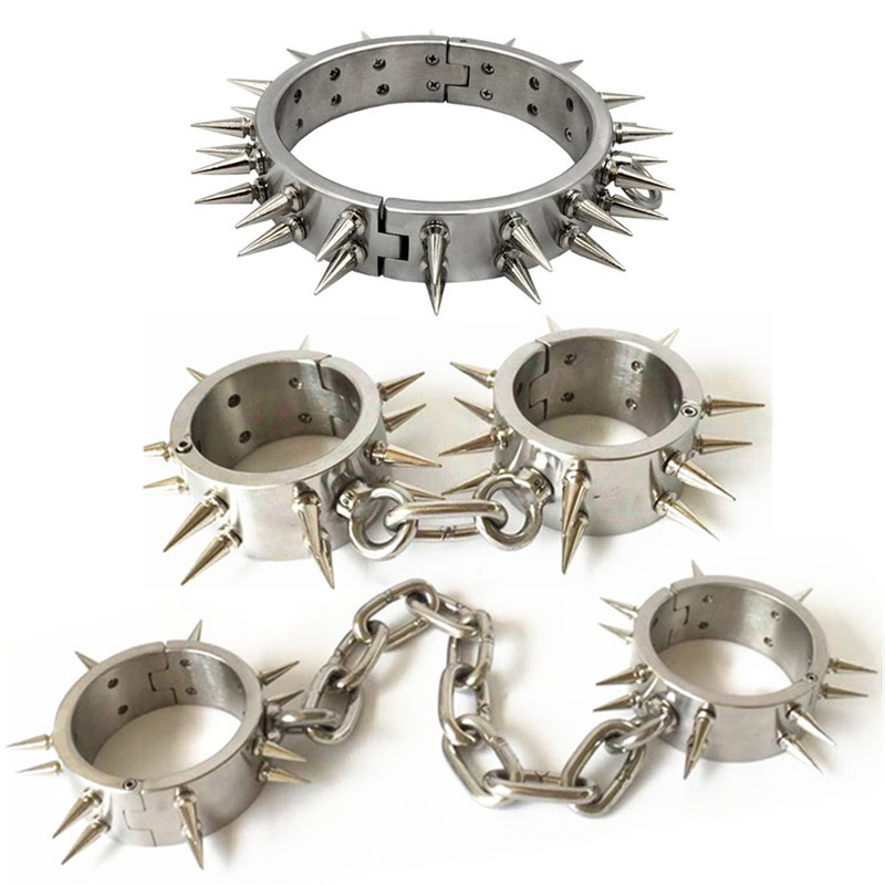 Get  Stainless Steel Lockable Restraints with Thorns Collar Handcuff Shackles Sex Fetish Manacle Sex Toy