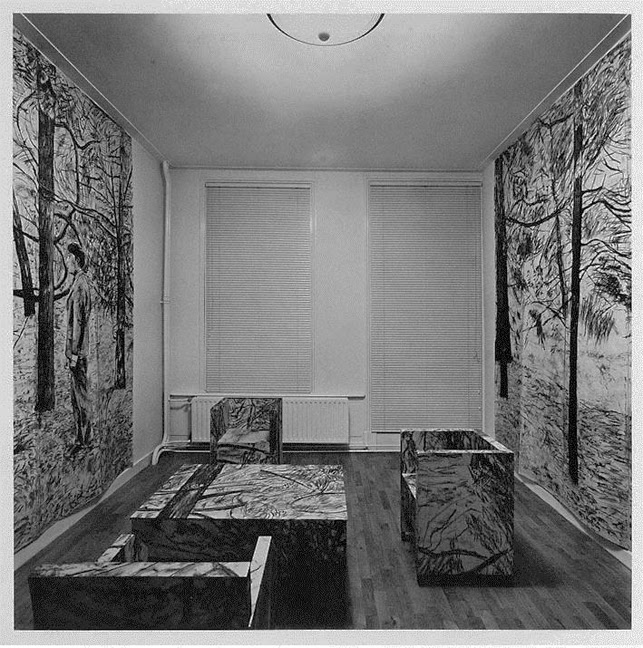The Tuileries. 1974. Charcoal on paper sculpture. Installation view, Willemsparkewg 36 (upstairs room), Amsterdam, 1974. © 2015 Stichting Fotoarchief Cor van Weele, The Hague