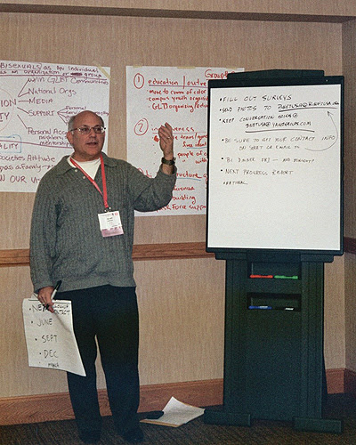 BiNet USa President Gary North addresses the Bisexual, Fluid, Pansexual and Queer-identified Institute at Creating Change in Dallas TX in Feb 2010