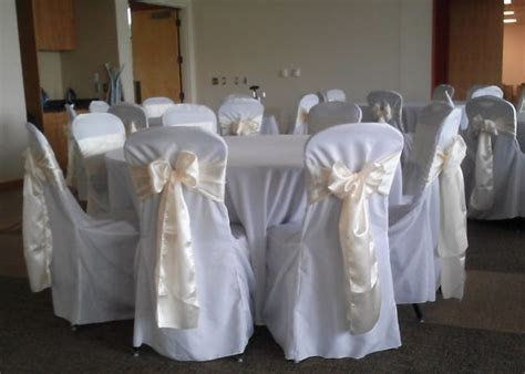 Ivory Satin Sash on White Chair Covers   Wedding Linens by