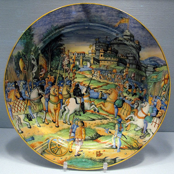 File:Urbino, bottega di guido durantino, grande piatto con sacco di roma del 1527, 1540 ca..JPG