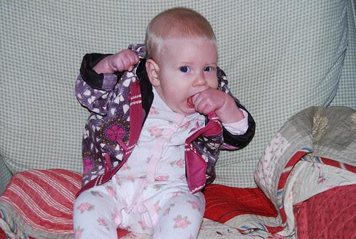 Scarlet in her jacket