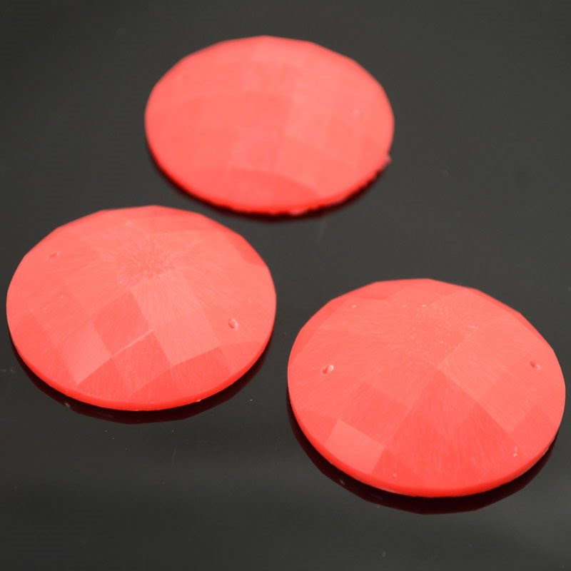 10608892-02 Resin - Fashion Cabochon - 34 mm Faceted Round - Neon Orange