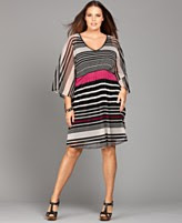 INC International Concepts Plus Size Dress, Three Quarter Sleeve Striped