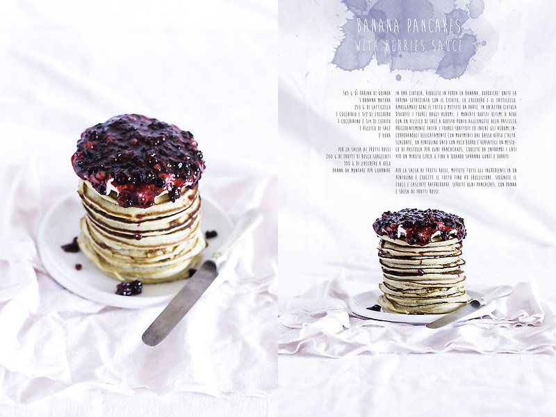 Banana Pancakes with berries sauce