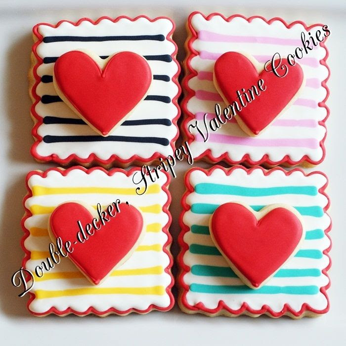 Double-decker, Stripey, Valentine Cookies | bakeat350.blogspot.com