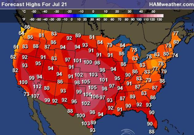 Us High Temp Map Us Weather Map Temperature Highs