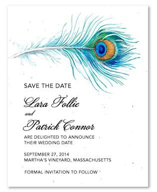 Peacock Save the Date cards on seeded paper ~ Delicated