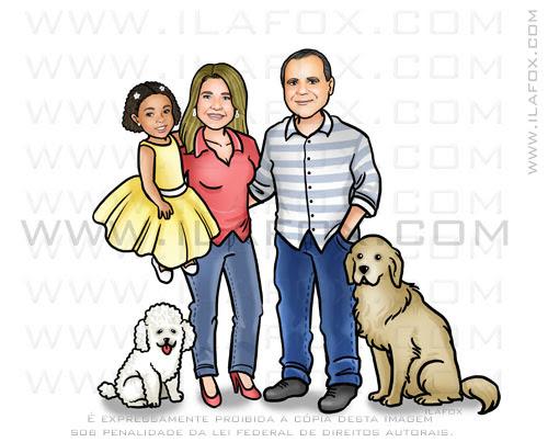 caricatura personalizada de familia, cariactura de familia, by ila fox