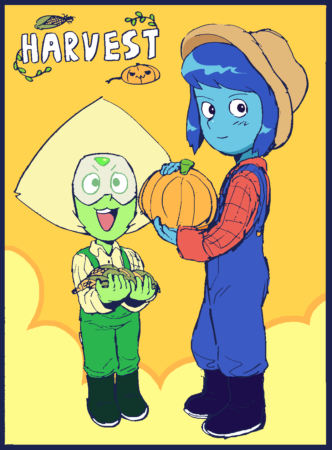 steven universe ! blue diamond and blue pearl ~~~☆ peridot and rapis !!