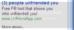 Ad: '(3) people unfriended you | Free FB tool that shows who unfriended you!'