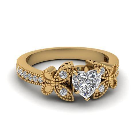 Yellow Gold Heart White Diamond Engagement Wedding Ring In