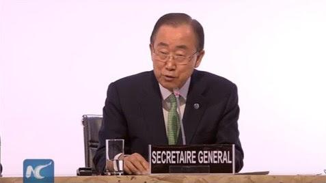 UN Secretary General Ban Ki-moon at Paris climate conference