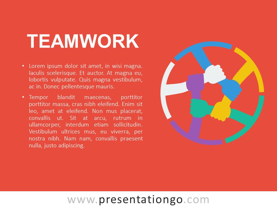 Teamwork PowerPoint Template Orange