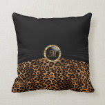 Monogram Brown Leopard Animal Pattern Throw Pillow