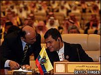 Presidente de Ecuador, Rafael Correa en la cumbre de la OPEP en Riad