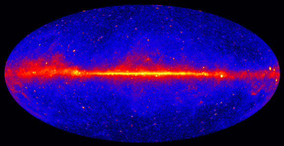 This view shows the entire sky in gamma-rays, based on five years of data from the LAT instrument on NASA's Fermi Gamma-ray Space Telescope. Brighter colors indicate brighter gamma-ray sources.
