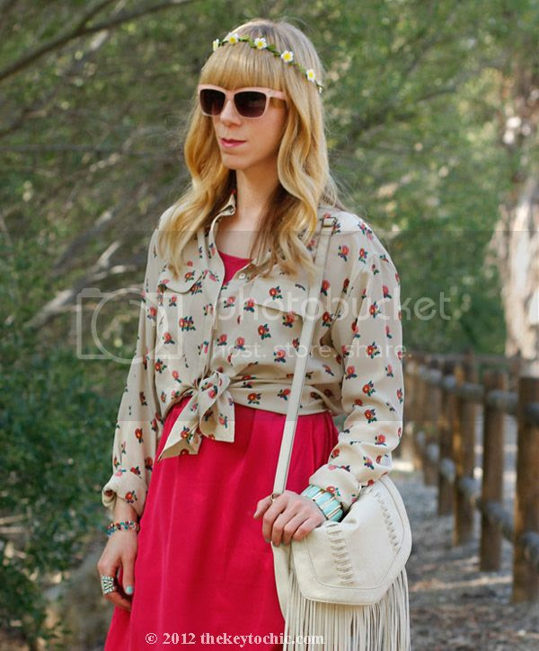 Equipment floral blouse, Gypsy Junkies high low dress, Mossimo fringe handbag, southern California fashion blog, Los Angeles street style