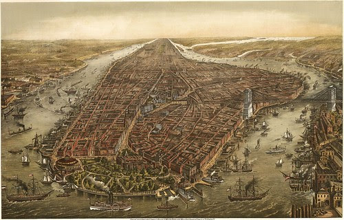 Bird's eye panorama of Manhattan & New York City in 1873