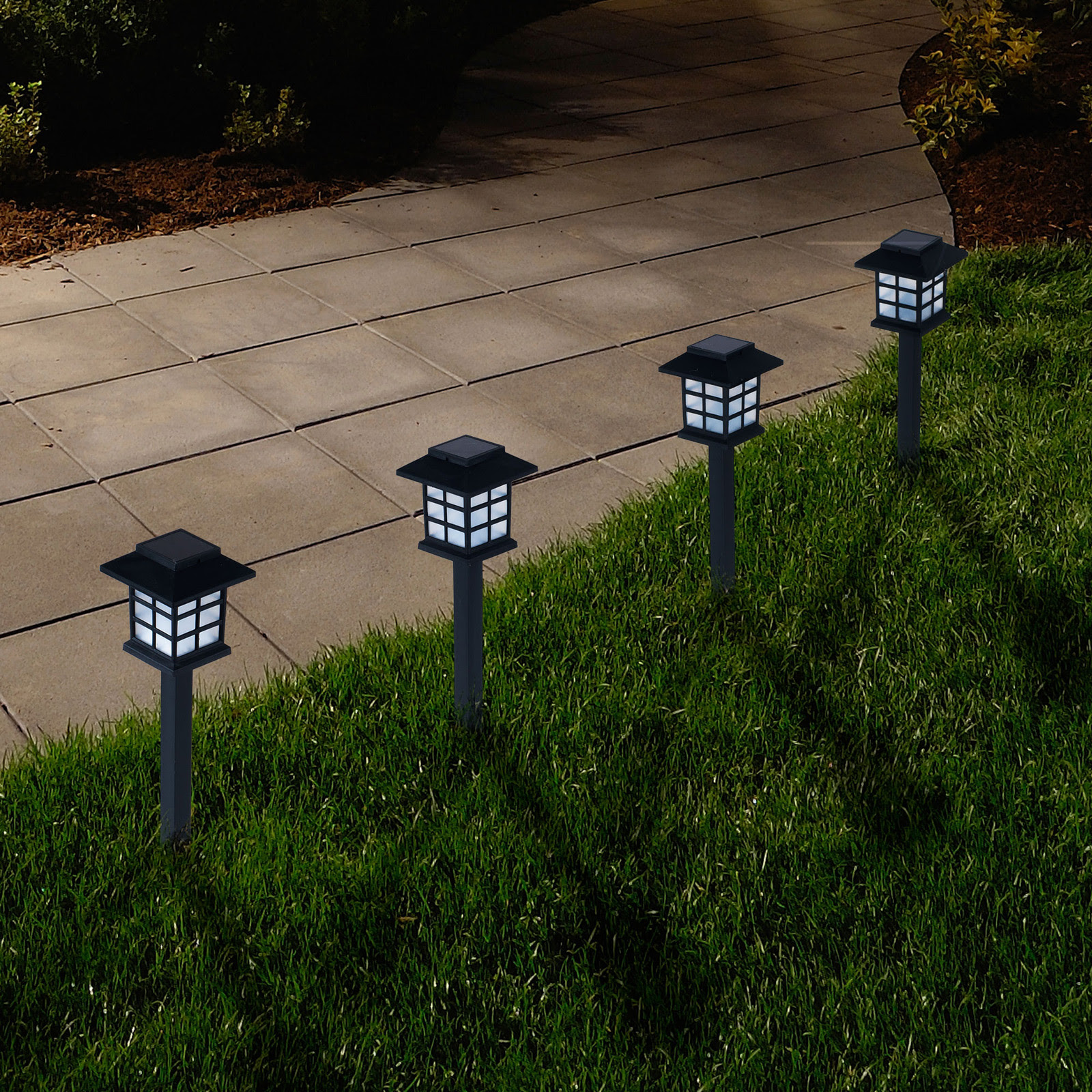 Pure Garden Outdoor Lantern Solar Landscaping Lights  Set of 6  Solar Landscape Lights at