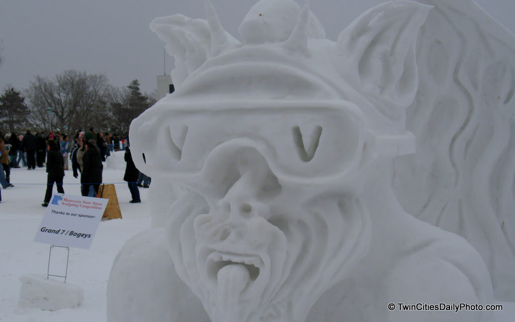 This snow sculpture had to be inspired by the Vulcans of the St Paul Winter Carnival, the arch nemesis of King Boreas.