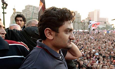 Wael Ghonim addresses crowds in Tahrir Square, Cairo.