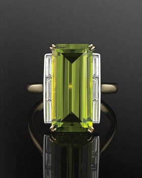 Peridot and Diamond Cocktail Ring, circa 1970s