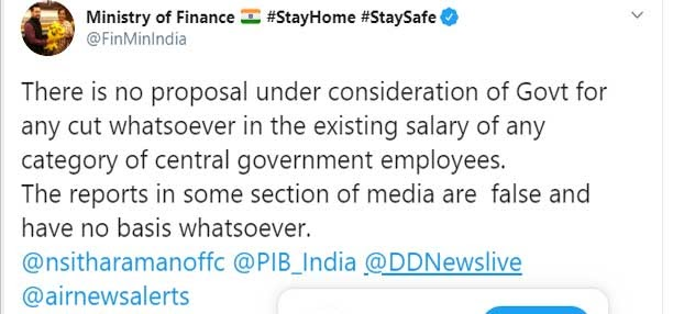 No Proposal to Cut 30 percent Salary of Central Govt employees