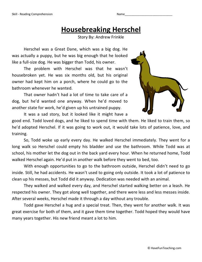 Reading Prehension Worksheet Housebreaking Herschel