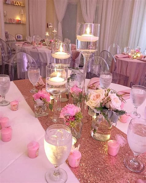 Floating Candles and Floral Accents  Blush Pink and Rose
