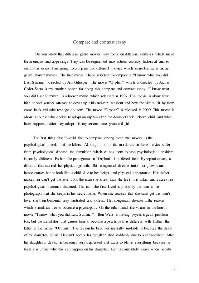 how to write a compare and contrast fiction essay