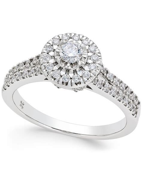 Macy's Diamond Halo Engagement Ring (1/2 Ct. T.w.) In 14k
