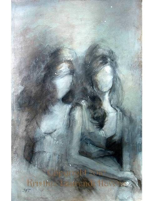 Figure Art - Two Elegantly Dressed Women in Soft Silver and Grey  - Female Friends - Large Open Edition Print