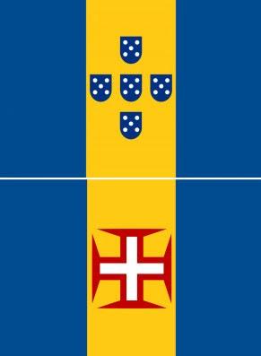 Bandeiras da FLAMA (em cima) e da Madeira (em baixo)