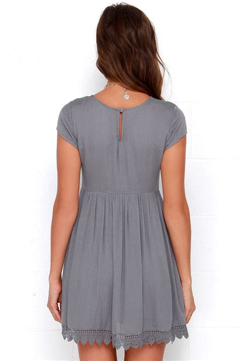 grey short sleeve dress grey crochet dress babydoll