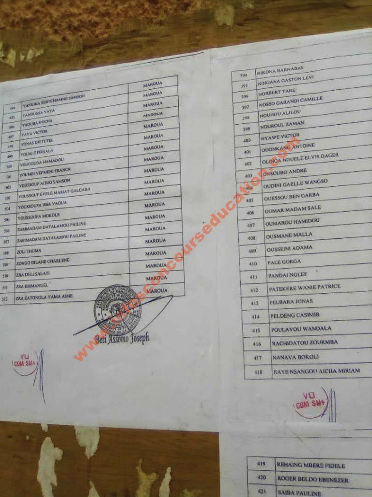 liste des candidats à prendre part aux épreuves écrites du concours pour le recrutement de 700 Eleves Sous-Officiers et 40 Eleves Sous-Officiers légion de l'extreme-nord