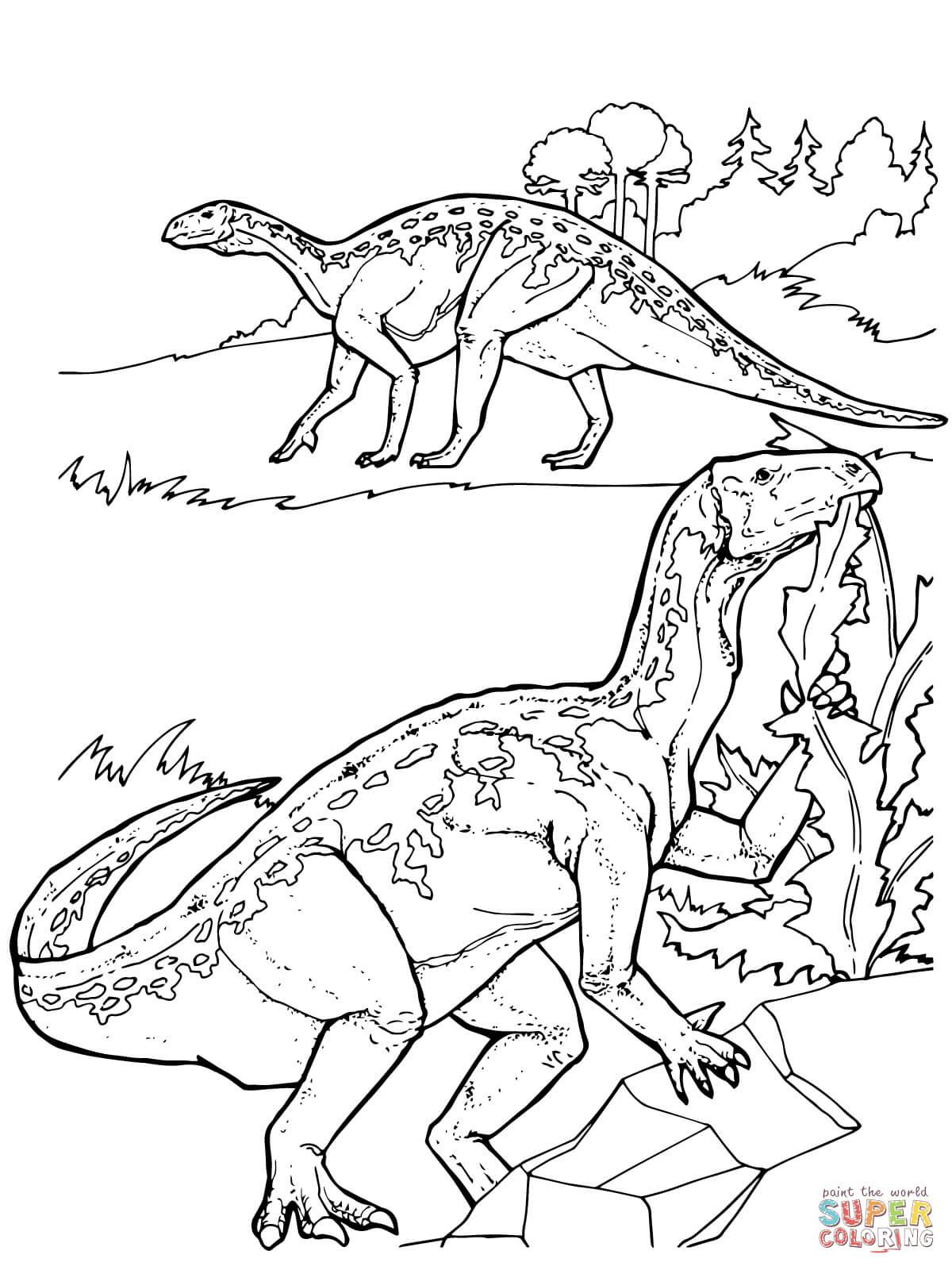 er sur la Dinosaure Iguanodon coloriages pour visualiser la version imprimable ou colorier en ligne patible avec les tablettes iPad et Android