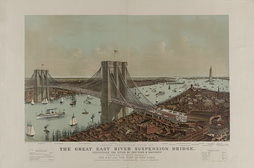 Grand birds eye view of the Great East River suspension bridge Connecting the cities of New York & Brooklyn - Showing also the splendid panorama of the bay and the port of New York.
