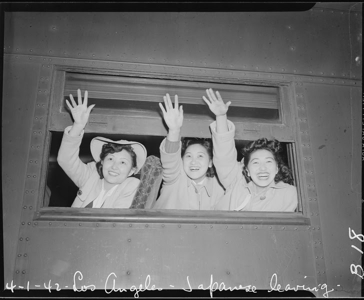 File:Los Angeles, California. Waving good-bye as the train pulls away from the station. These girls are . . . - NARA - 536767.tif
