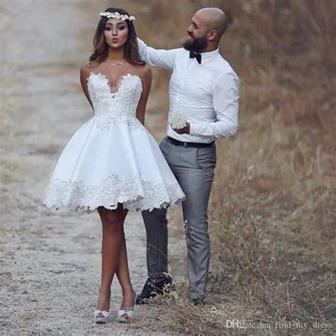 Discount Sweetheart Short Casual Beach Lace Wedding Dress