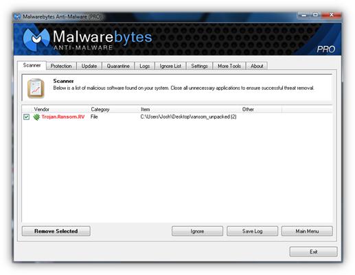 Malwarebytes remove ransomware