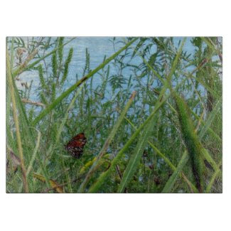 Butterfly by the River Decorative Cutting Board