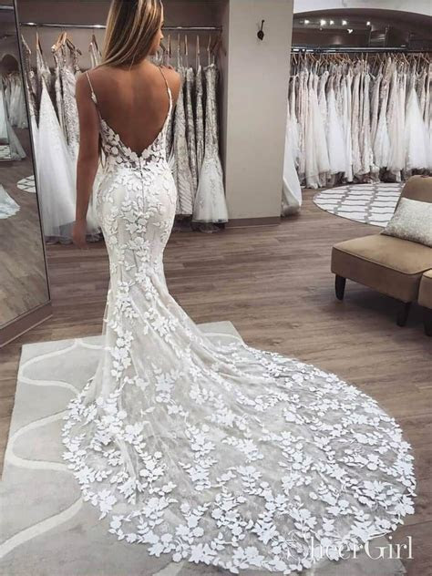 Vintage embroidered lace mermaid wedding dress with beaded