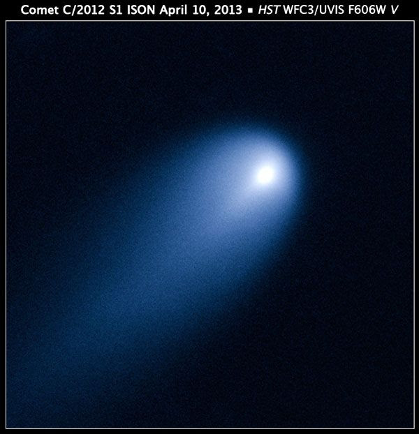 One of the Hubble Space Telescope's latest images: a photo of Comet (C/2012 S1) ISON that HST took as the comet was 386 million miles from the Sun on April 10, 2013.