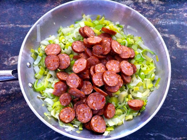Smoked Sausage Added to Sauted Leeks