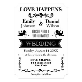 Retro Typography Black And White Wedding 5x7 Paper Invitation Card