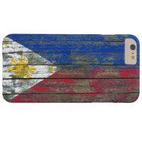 Filipino Flag on Rough Wood Boards Effect Barely There iPhone 6 Plus Case