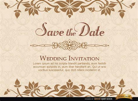 Golden Floral Wedding Invitation Template   Vector download