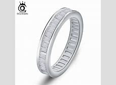 Rectangle CZ Invisible Setting Wedding Bands For Women Fashion Eternity Ring on 3 Layer Platinum